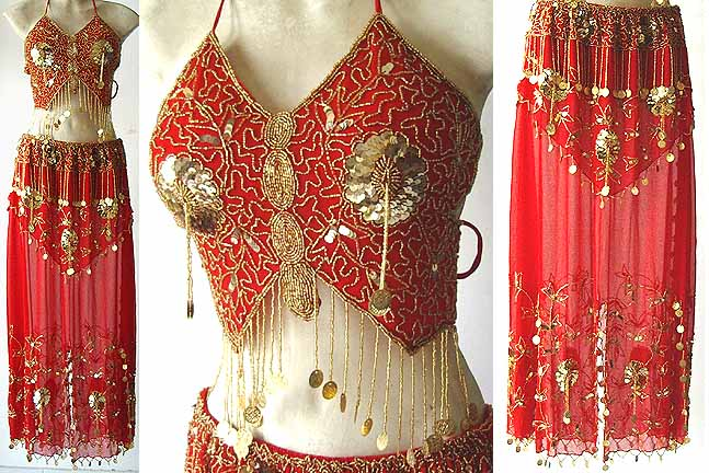 Belly Dance Clothes Costume Red Dress D