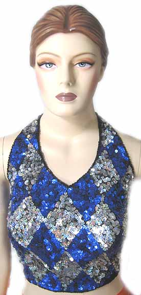 f248f8b30511b Blossom Apparel - Sequin Halter Top Blue and Silver