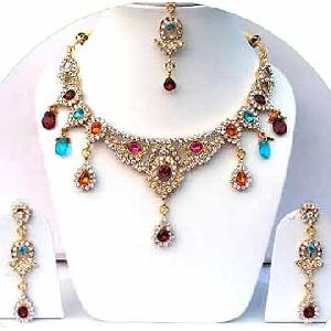 Gold Diamond Bollywood Jewelry Set JVS-26 Image