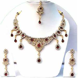 Gold Diamond Bollywood Jewelry Set JVS-25 Image