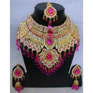 Gold Diamond Bollywood Jewelry Set NP-408 Image