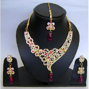 Gold Diamond Bollywood Jewelry Set NP-424 Image