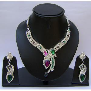 Gold Diamond Bridesmaid Jewelry Set NP-371 Image
