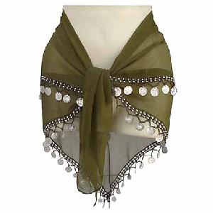Belly Dancing Hip Scarf Moss Green 2 Line Image
