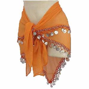 Orange hipscarf with coins 2 Line Image