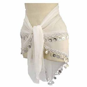 White Hipscarf Bellydancing 2 Line Image