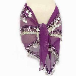 Belly Dancing Hips Scarf Purple 4 Lines Image