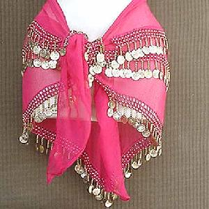 Belly Dancer Hip Scarf Magenta 3 Line Gold Image
