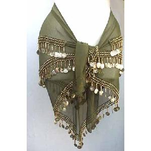 Belly Dancer Hip Scarf Moss Green 3 Line Image