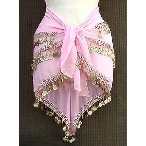 Pink Belly Dancer Hip Scarf 3 Line Gold Image