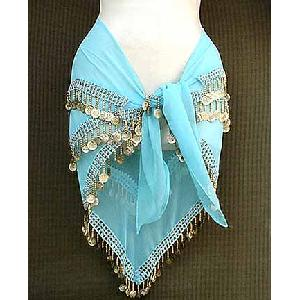 Turqoise Belly Dancer Hip Scarf 3 Line Gold Image