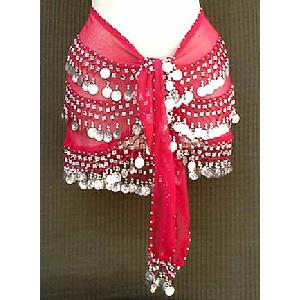 Red Shimmy Belt Belly Dance 3 Line Image