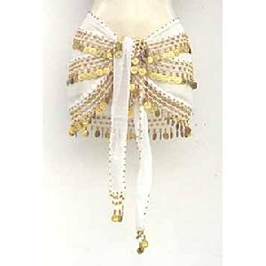 White Shimmy Belt Belly Dance 3 Lines Image
