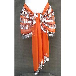 Orange Belly Dancing Hip Scarf 5 Line Image
