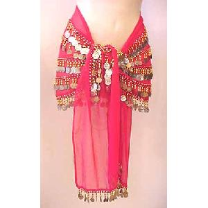 Belly Dancing Hip Scarf Magenta 4 Lines 750 Coins Image