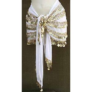 Belly Dancing Hip Scarf White 4 Lines 750 Coins Image