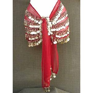 Belly Dancing Hip Scarf Red 4 Lines 750 Coins Image