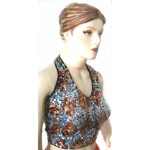Sequin Halter Top Copper and Silver Image