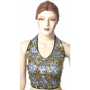 Sequin Halter Top Gold and Silver Image