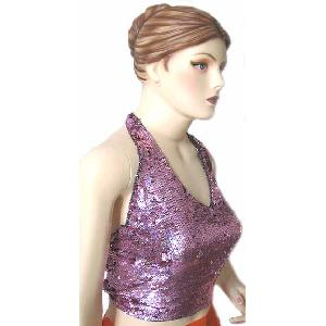 Sequin Halter Top Lilac Image