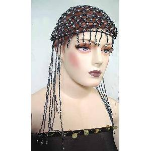 Belly Dancer Cap Black Beads with Grey Beads Image