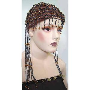 Belly Dancer Cap Brown with Gold Beads Image