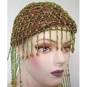 Belly Dancer Cap Green with Gold Beads Image