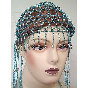 Belly Dancer Cap Turqoise with Gold Beads Image