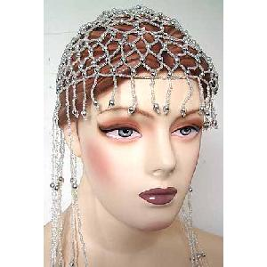 Belly Dancer Cap White with Gold Beads Image