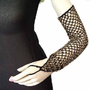Dancers Black Knitted Sleeve with Gold Beads Image