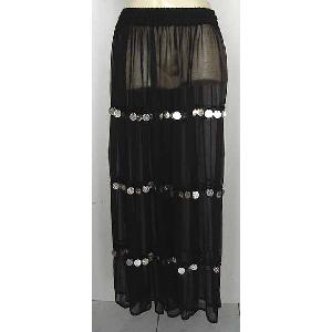 Bellydancer Skirt Black Chiffon with Coins Image