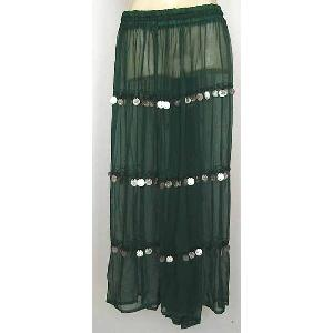 Bellydancer Skirt Green Chiffon with Coins Image