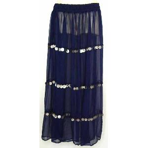 Bellydancer Skirt Navy Chiffon with Coins Image