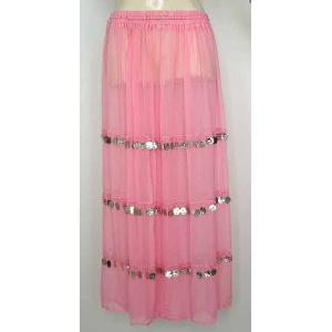 Bellydancer Skirt Pink Chiffon with Coins Image