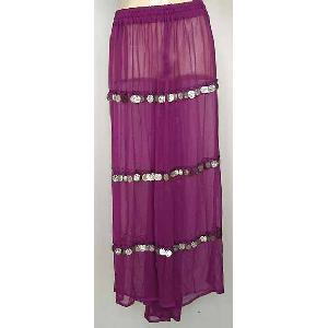 Bellydancer Skirt Purple Chiffon with Coins Image
