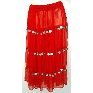 Bellydancer Skirt Red Chiffon with Coins Image