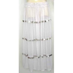 Bellydancer Skirt White Chiffon with Coins Image