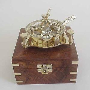 Brass Sundial with Wood Box Image
