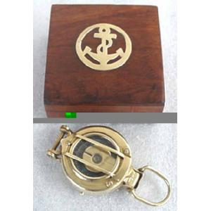 Solid Brass Engineering Lensatic Compass w Box Image
