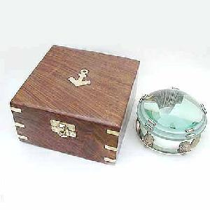 "3""Glass Lens Magnifying Glass Silver Stand w Box Image"
