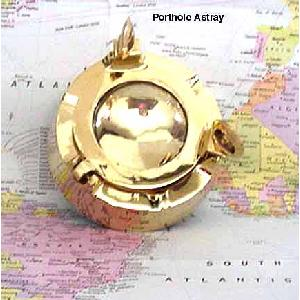 Porthole Ashtray in Brass w glass lid Image