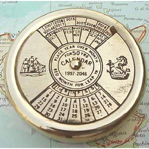 Brass Perpetual Calendar Paperweight 50 years Image