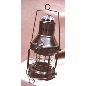 Antique Anchor Lantern Fresnel Lens and Oil Lamp Image