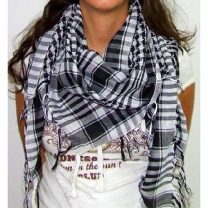 Plaid Check Scarf Black and White Arafat Image