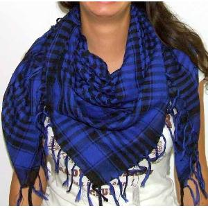 Plaid Check Scarf Blue and White Arafat Image