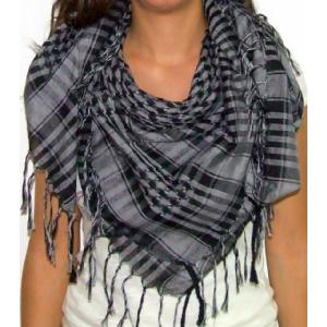Plaid Check Scarf Gray and Black Arafat Image