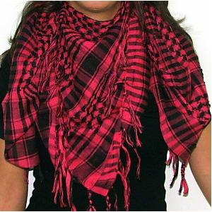 Plaid Check Scarf Pink and Black Arafat Image