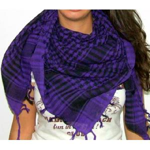 Plaid Check Scarf Purple and Black Arafat Image