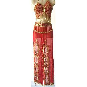 Red Harem Belly Dancer Costume Dress FG Image