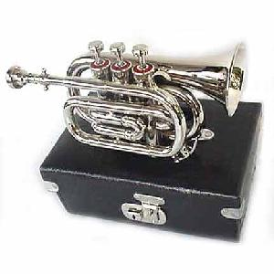 New Silver Pocket Trumpet Cornet with Case Image
